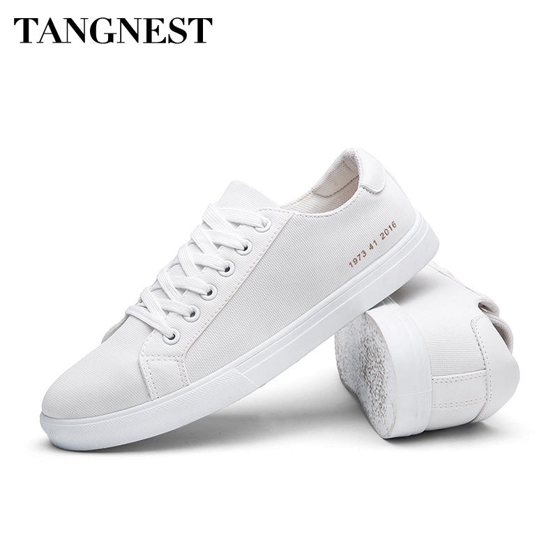 Tangnest Spring Summer Men Canvas Shoes Korean Style Lace Up Fashion Casual Shoes Breathable Flats Light Men Sneakers XMR2798