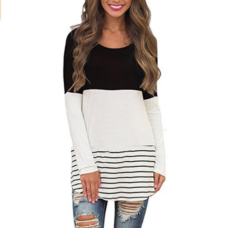 Women Long Sleeve Splicing Tops Spring Round Neck Blouse Girls Casual Long T-shirt