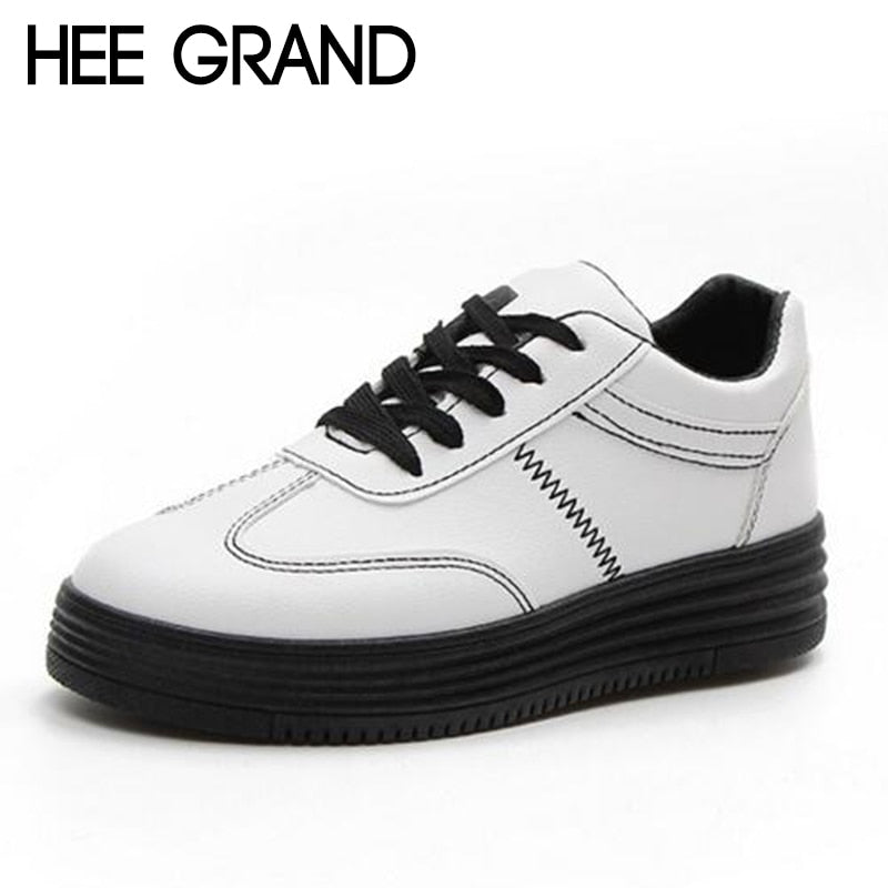 HEE GRAND 2018 Rivet Women Casual Shoes PU Leather Vamp Flats Comfortable Women Shoes Vulcanized Shoes Mujer Sneakers XWB153