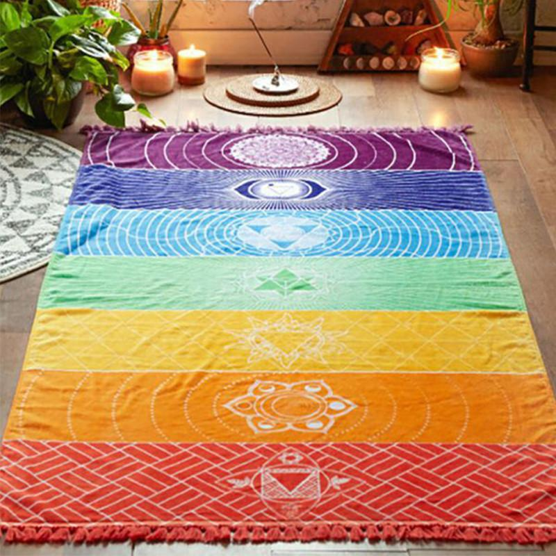 Summer Rainbow Beach Bath Towels  Wrap Skirt  Shawl  Square Picnic Blanket Outdoor Yoga Mat Indoor  Bohemian Dorm Decor Wall Art