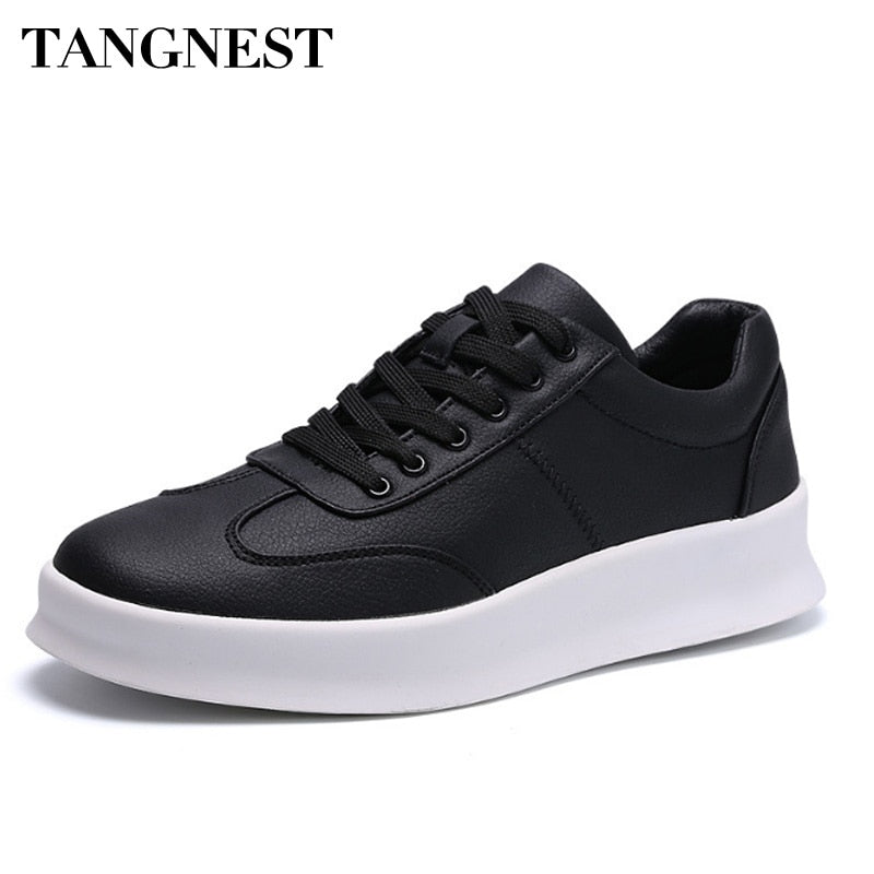 Tangnest Men Casual Flats Spring Summer Breathable Outdoor Shoes Lace-up Soft PU Leather Light Sneakers Fashion Footwear XMR2832