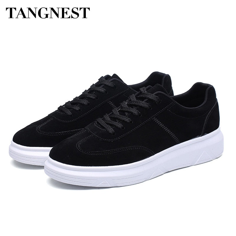 Tangnest Spring Men Casual Shoes Korean Style Lace Up Sneakers Breathable Flats Wearable Height Increasing Men Shoes XMR2796