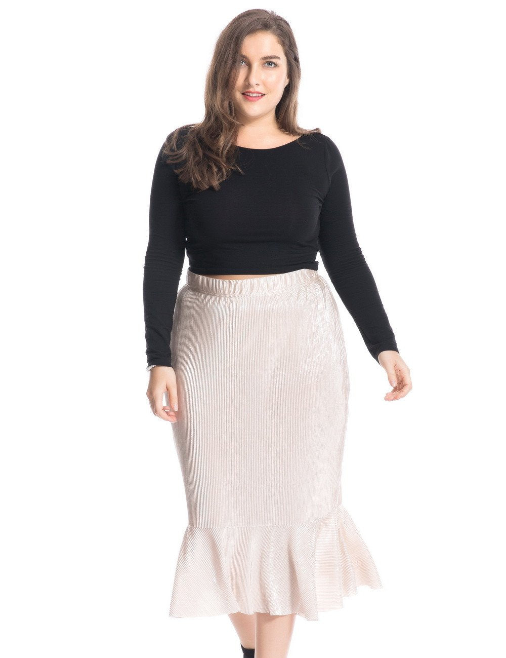 Chicwe Women's Plus Size Pleated Swing Skirt with Stretch Waist 1X-4X