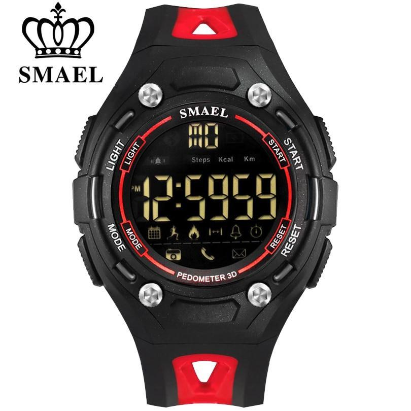 SMAEL Brand Men Black Red Bluetooth Smart Watch Man Sport Electronic Pedometer with Wristwatches 50M Waterproof LED Men's Clock