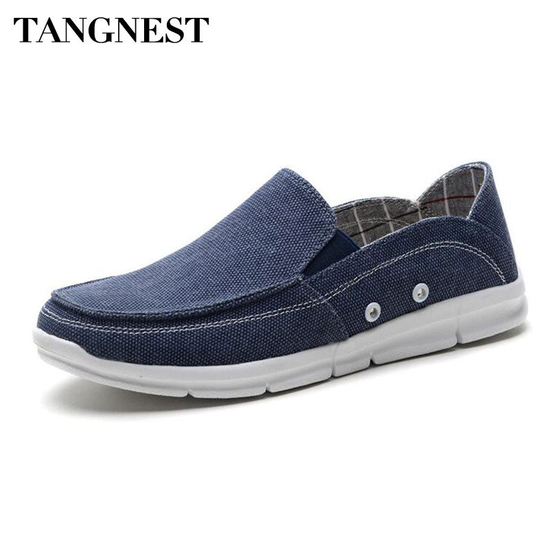 Tangnest NEW 2018 Men Canvas Shoes Summer Casual Slip-on Comfortable Flat Sneakers Male Denim Canvas Driving Shoes