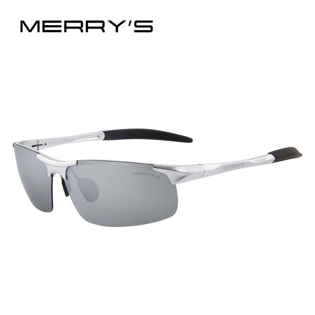 MERRY'S Men Polarized Sunglasses Aviation Aluminum Magnesium Sun Glasses For Fishing Driving Rectangle Rimless Shades S'8277