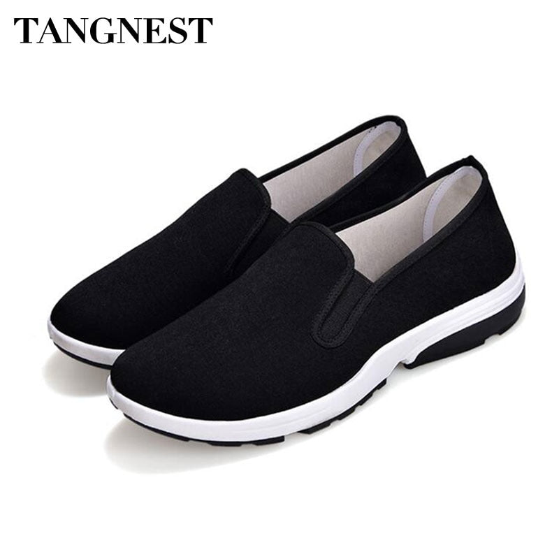 Tangnest Men Casual Canvas Flats Shoes Black Shallow Slip-on Platform Loafers Men Casual Summer Comfortable Sneakers XMR2986