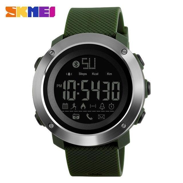 SKMEI 1285 Men Women Sports Outdoor Watch Calories Remind Bluetooth Remote Control Camera Life Waterproof Relogio Feminino
