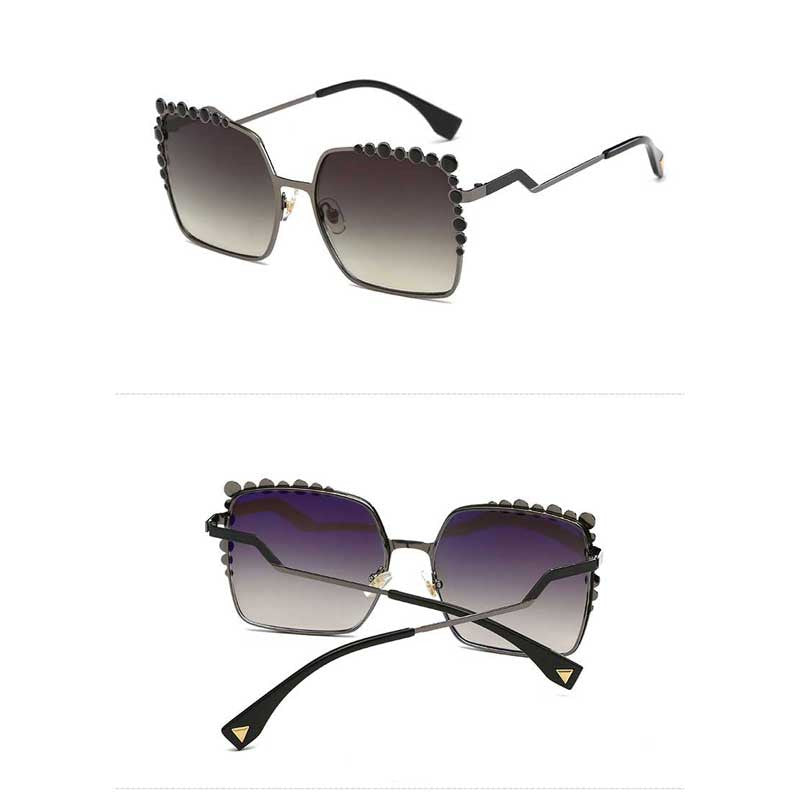 Oversized Sunglasses Square Diamond Large Sunglasses Women Brand Designer Ladies Vintage Big Mirror Coating Gradient Eyewear