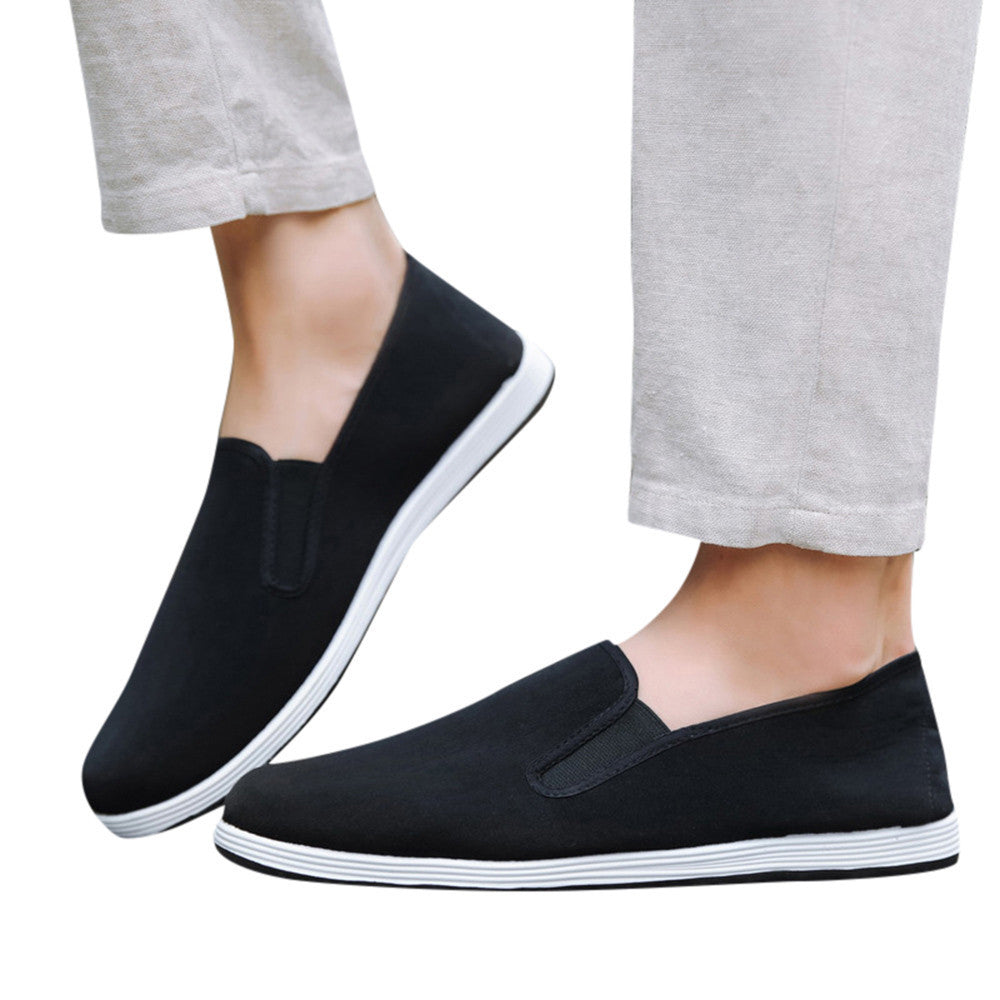 Men Boys Casual Sneakers Sports Running Breathable Solid Canvas Slip-On Shoes