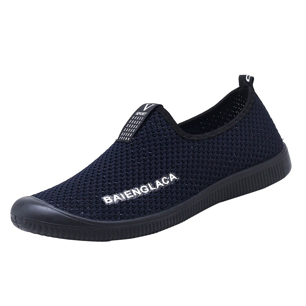 Men Mesh Round Breathable Flat Sneakers Running Shoes Casual Slip-on Shoes