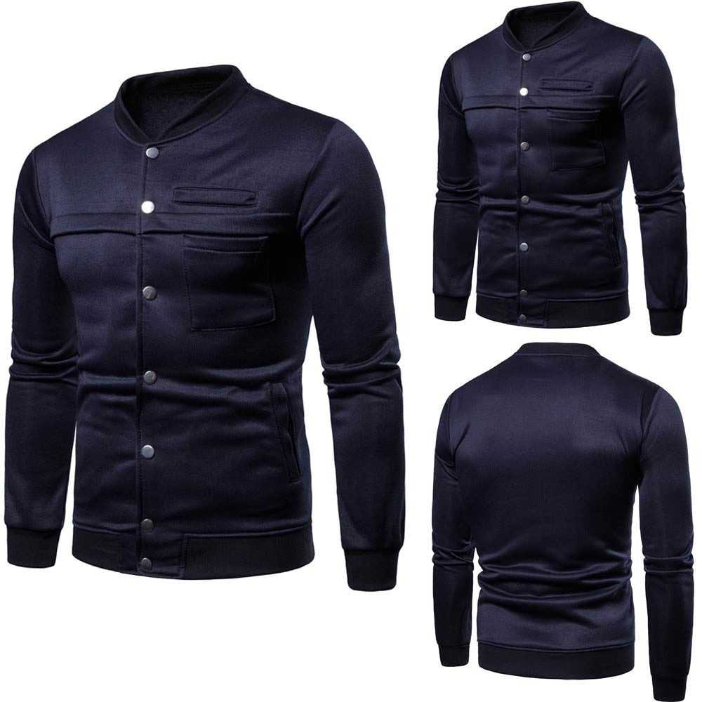 Mens Pure Color  Pullover Long Sleeve Hooded Sweatshirt Tops Blouse