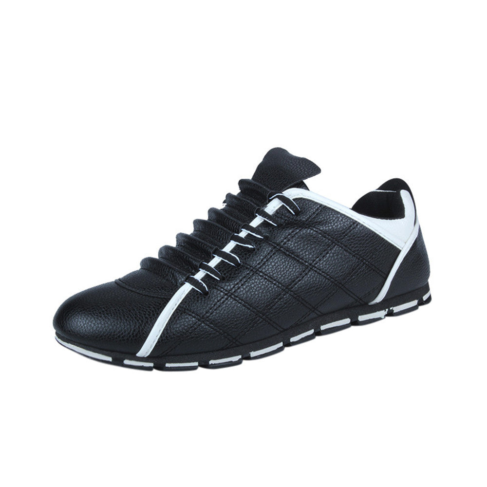 New Style Fashion Men Casual Leather Comfortable Breathable Sneakers Flat Shoes