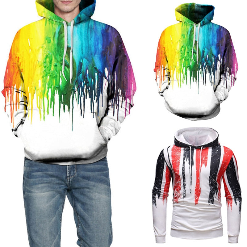 High Street Men's Hoodies Long Sleeve Autumn Spring Pullover Coat Male Hoody Winter Outwear Hombre 3D Print Fashion Sweatshirts