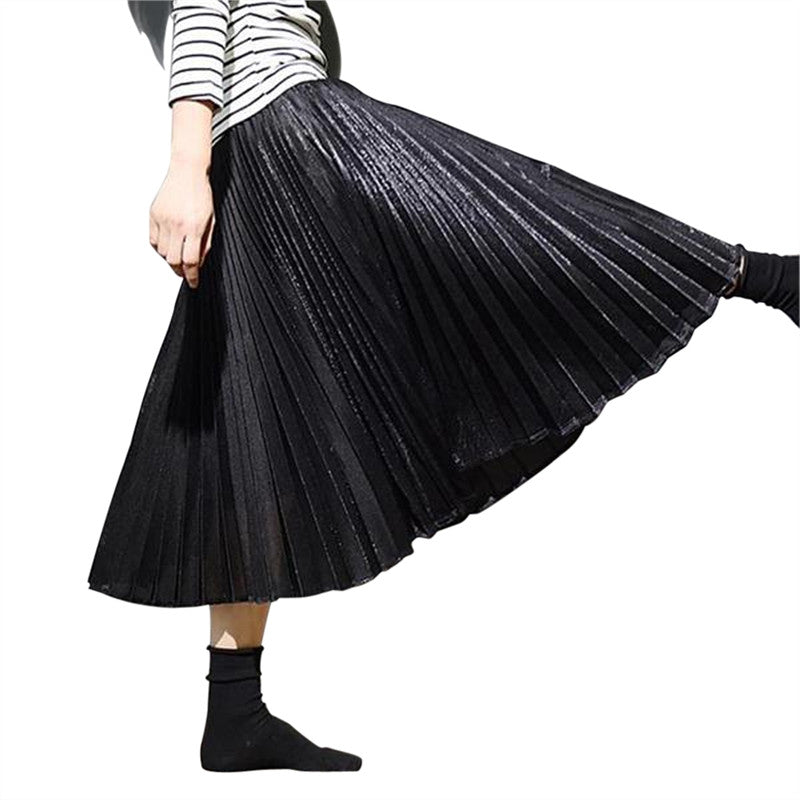 Gifts Skirt Chic High Waist Long Skirt Pleated Skirt Ladies Half Skirt Velvet Casual Dress