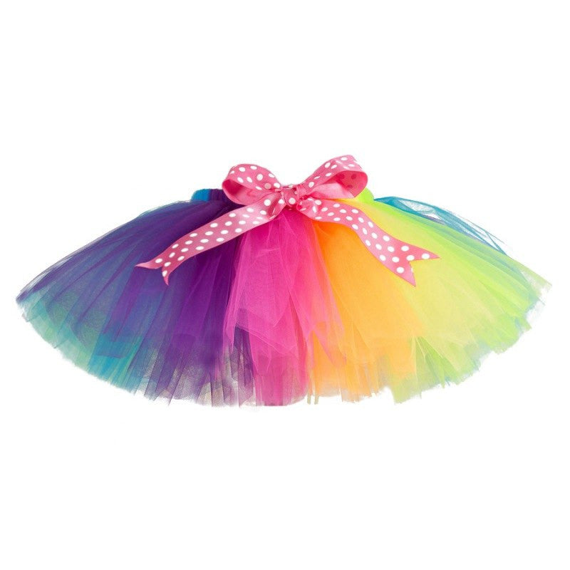 New Sweet Kids Girls Skirts Fluffy Handmade Rainbow Tutu Skirt Colorful Girl Skirt Dance Skirt For 2-12 Years Children
