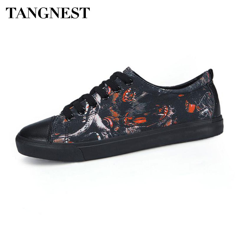 Tangnest Fashion Printed Men's Sneakers Casual Pu Leather Patchwork Lace Up Flats Men Comfortable Canvas Shoes Man Flats XMR2971
