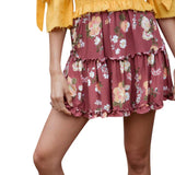 Women Ladies Floral Printing Skirt Splice Folds Skirt Mini Skirts