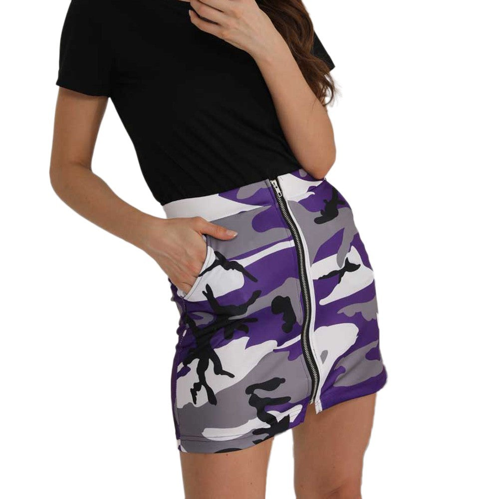 Sexy Women Ladies Camouflage Printing Skirt Zipper Skirt Mini Skirts
