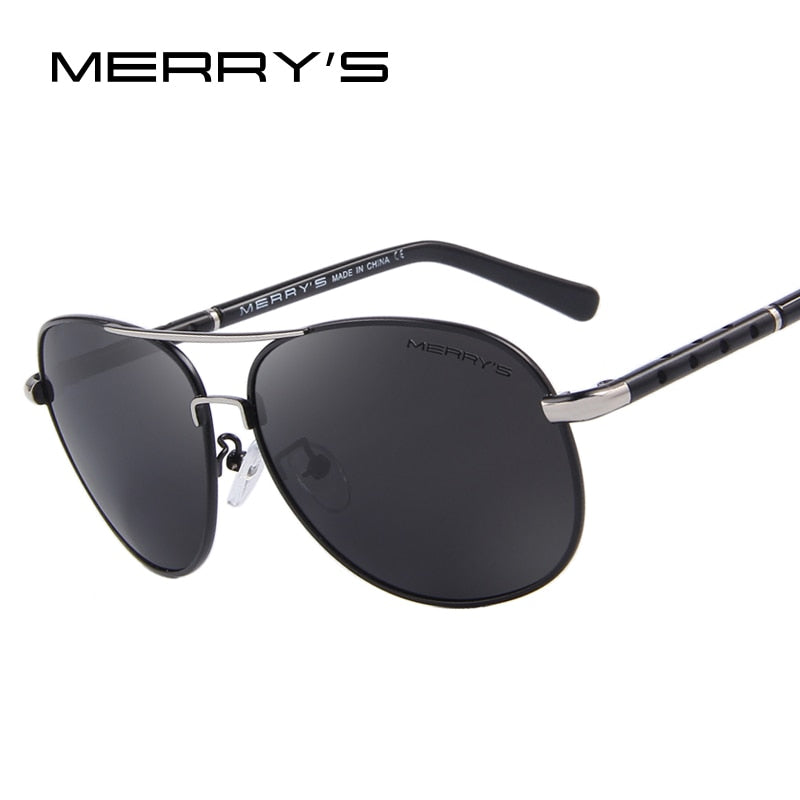 MERRY'S Men Classic Brand Sun glasses Luxury Aluminum Polarized EMI Defending Coating Lens Driving Shades S'8371