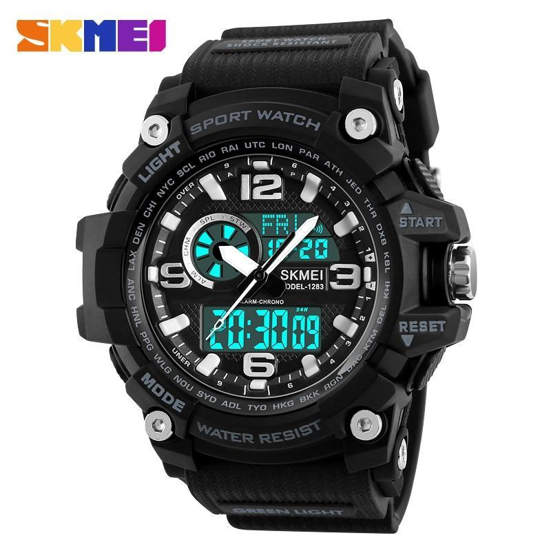 SKMEI Sports Watches Men Fashion Multi-function Chronograph Digital Quartz Dual Display Wristwatches Relogio Masculino XFCS 1283