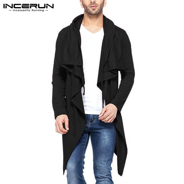 2018 New Mens Hoodies Waterfall Fashion Cardigan Autumn Spring Trench Mantle Hoody Irregular Hem Hombre Cardigan 3XL INCERUN