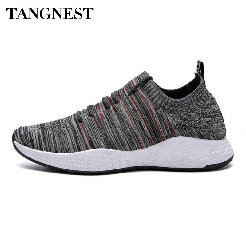 Tangnest Casual Men's Knitted Shoes Men Patchwork Color Slip-on Sneakers Breathable Height Increasing Platform Flats XMR2982