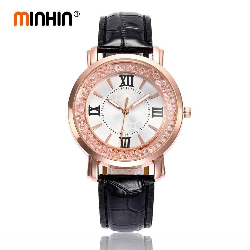 MINHIN Women Smart Watches Ladies Casual Dress Leather Quartz Wrist Watch Quicksand Jewelry Roman Numerals Rose Gold Watch