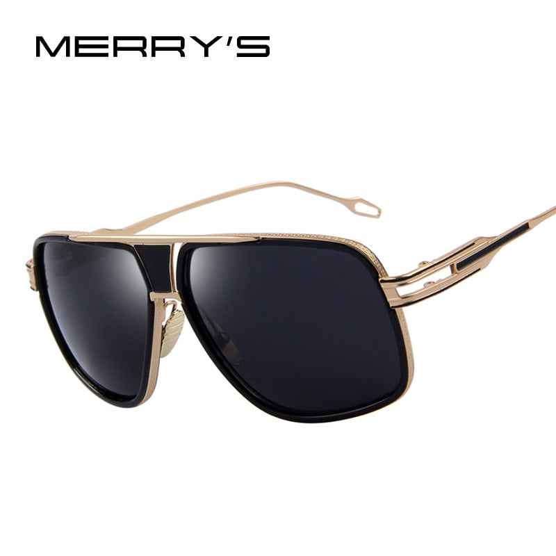 MERRY'S Men's Sunglasses Newest Vintage Big Frame Goggle Summer Style Brand Design Sun Glasses Oculos De Sol UV400