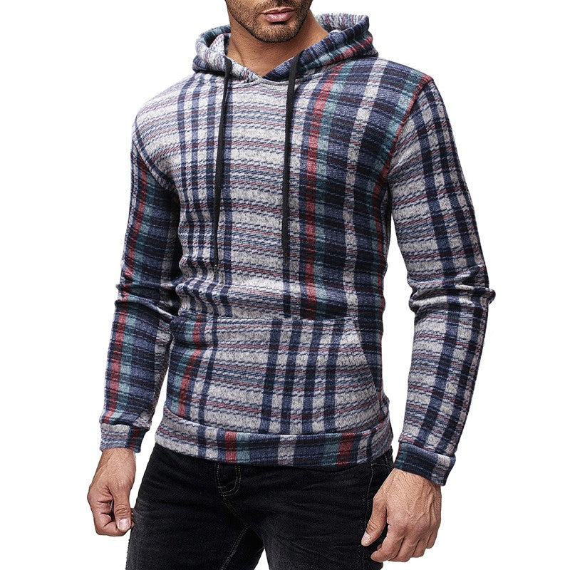 Men Hoodies Plaid Casual Sweatshirt Long Sleeve Streetwear