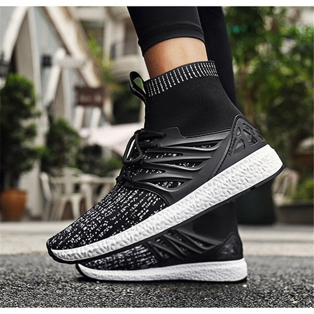 NIS Lightweight High Top Socks Casual Shoes Men Sneakers Trainers Boots Men Vulcanize Shoes Breathable Mesh Sport Sneakers New