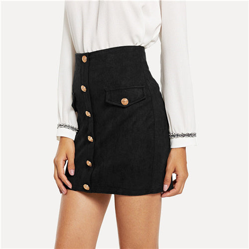 SHEIN Black Elegant Office Lady Solid Button And Pocket Front Bodycon Skirt Autumn Casual Workwear Women Short Skirts
