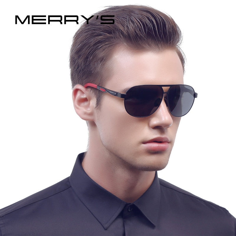 MERRY'S Men Classic Brand Sunglasses HD Polarized Aluminum Sun glasses EMI Defending Coating Lens Driving Shades S'8611