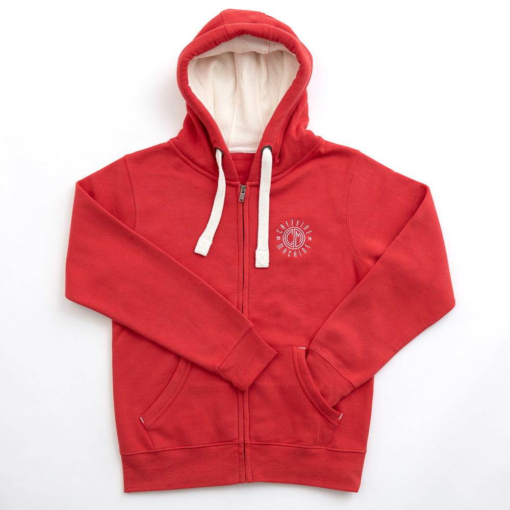 Zipped Hoodie. Dusty Red