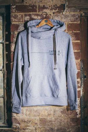 Roll Neck Hoody. Light Grey