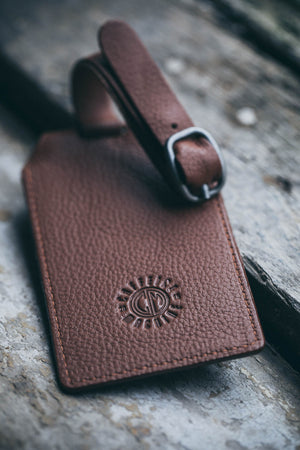 Luggage Tag. Tan Leather.