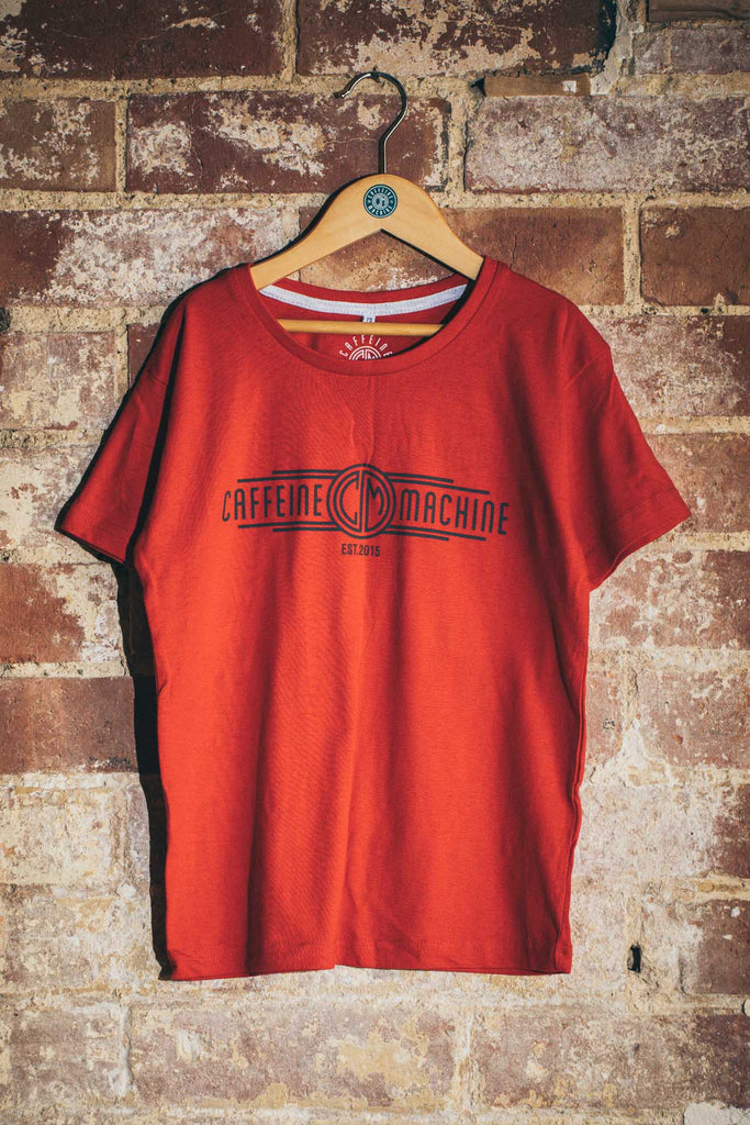 Kids. C&M Church Tee. Red and Charcoal