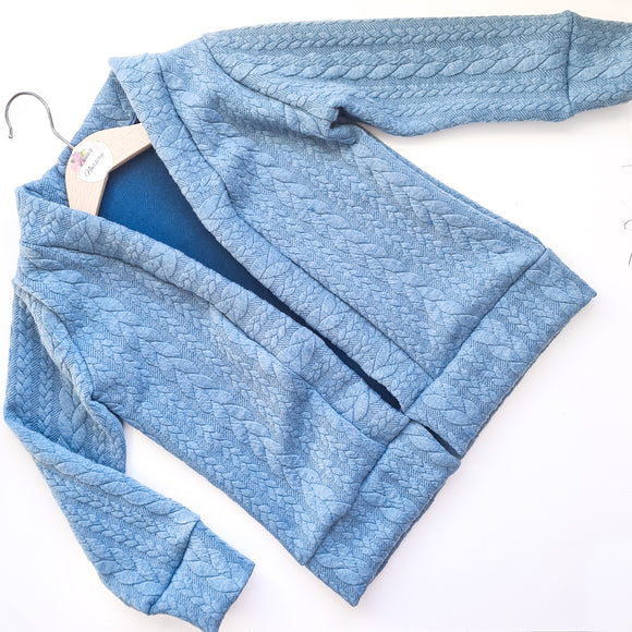 Cable knit Cardigan - Dusty Blue