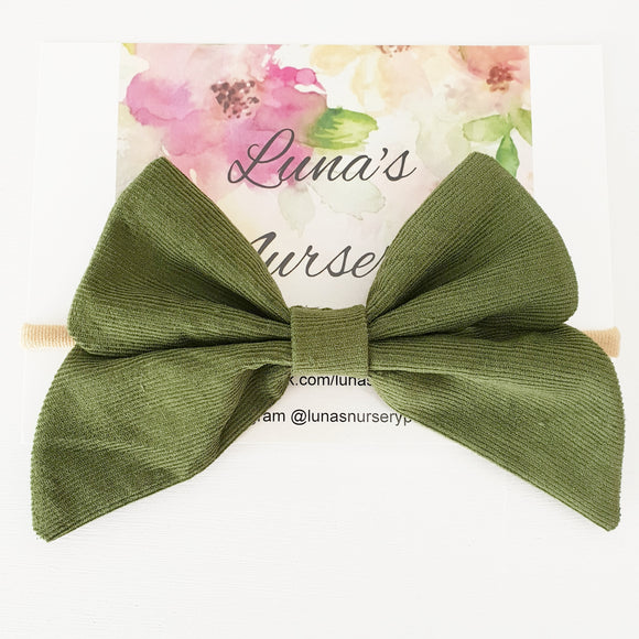 Large Corduroy bow - Olive green