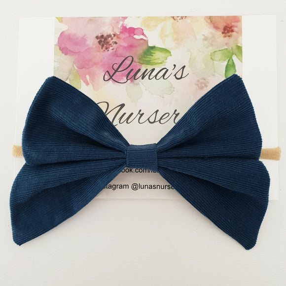 Large Corduroy bow- Navy