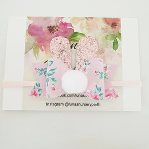 Bunny bow - Pink floral
