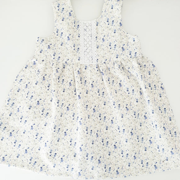 Corduroy dress - Blue daisy