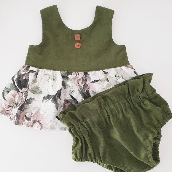 Peplum and Bloomer set - Noemi and Olive corduroy