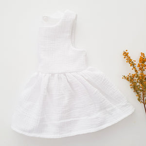 Double gauze peplum - white