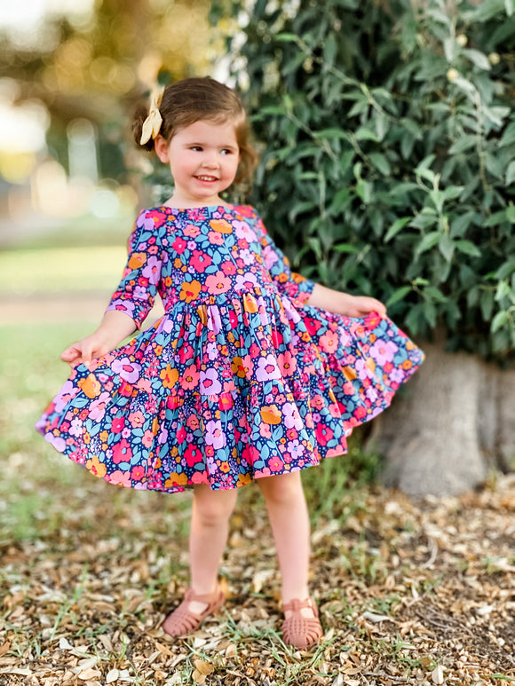 Magnolia dress - Navy floral