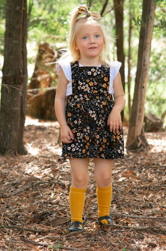 Mustard haze floral Pinafore dress