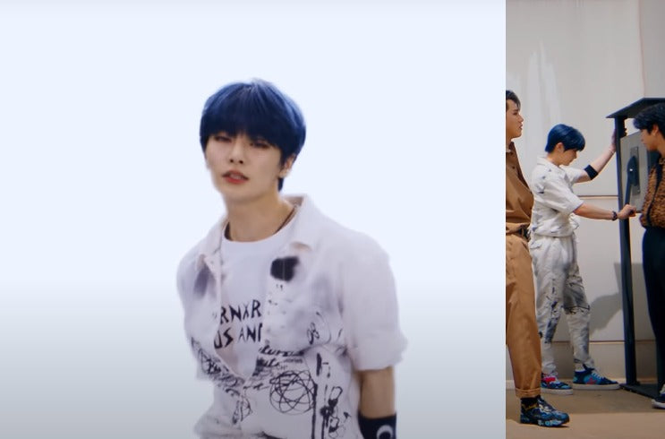"""ic: I.N sports a boiler suit from Futura Laboratories. Featured in Stray Kids' """"Back Door"""" music video."""