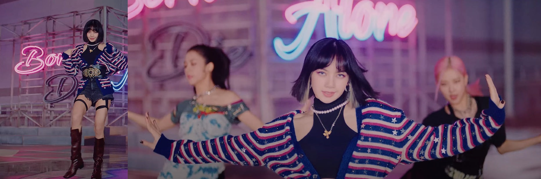 """ic: Lisa wears Alexander Wang shorts and a red, white, and blue striped cardigan. Featured in Blackpink's """"Lovesick Girls"""" Music Video."""