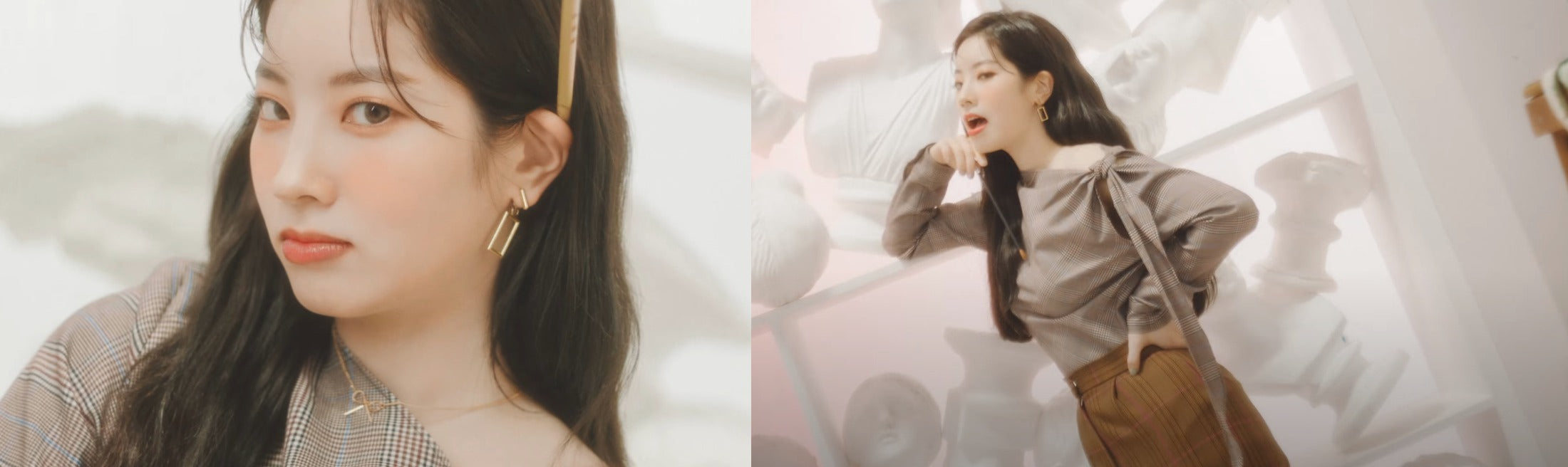 """ic: Dahyun sports rectangle-shaped gold earrings. Featured in TWICE's """"Better"""" music video."""
