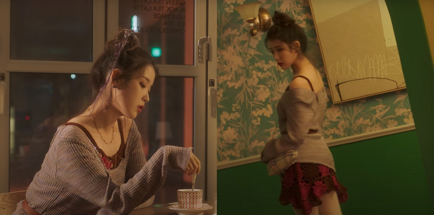 """ic: IU carries a Vivienne Westwood purse. Featured in IU's music video, """"Celebrity."""""""